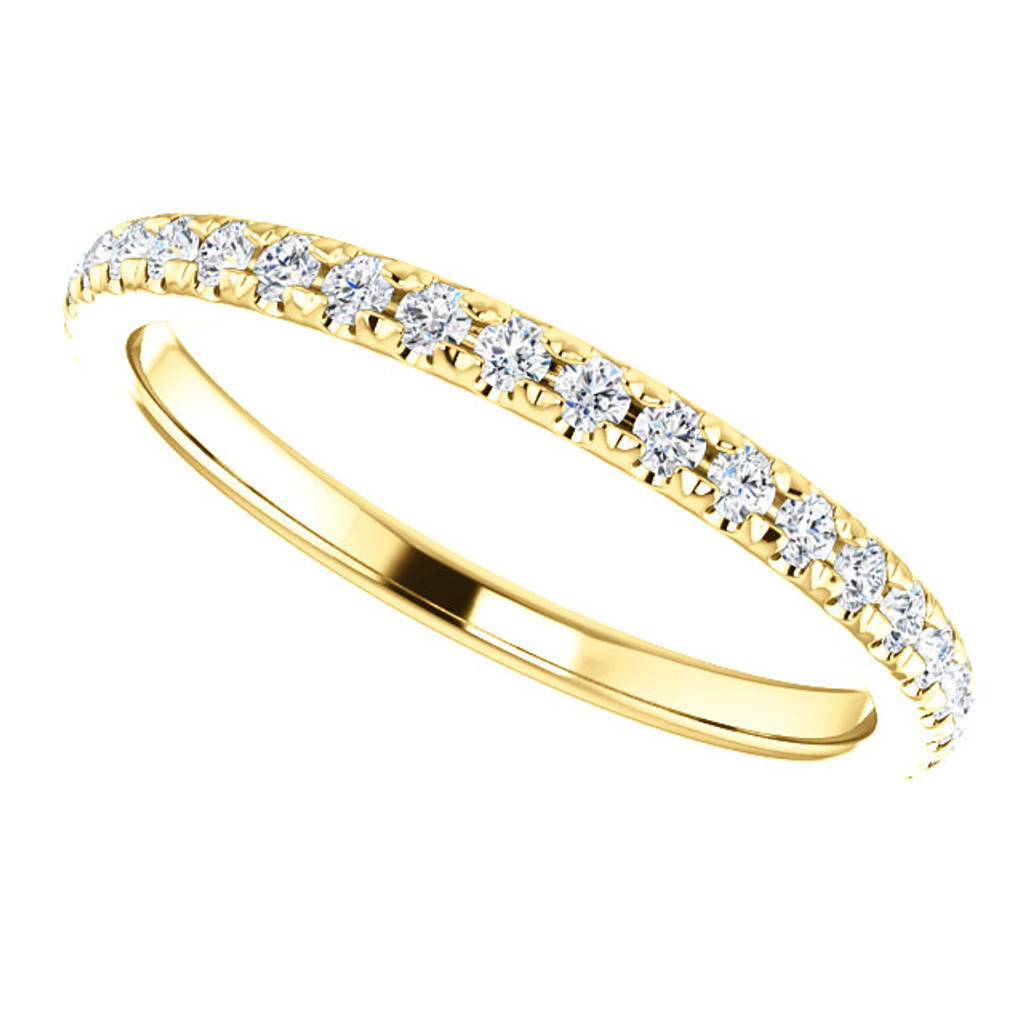 Stackable Solid 14 Karat Yellow Gold Anniversary Band