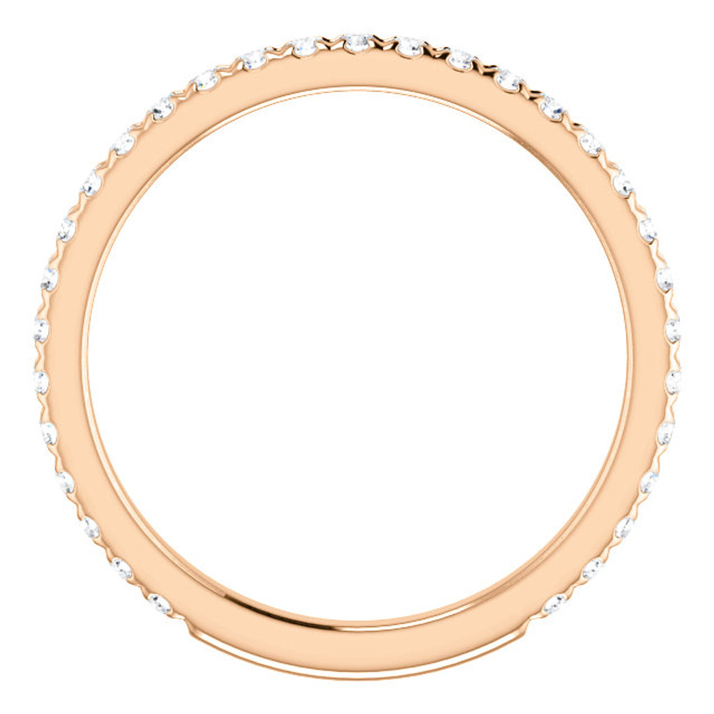Best Quality Cubic Zirconia Stackable Anniversary Band in 14 Karat Rose Gold