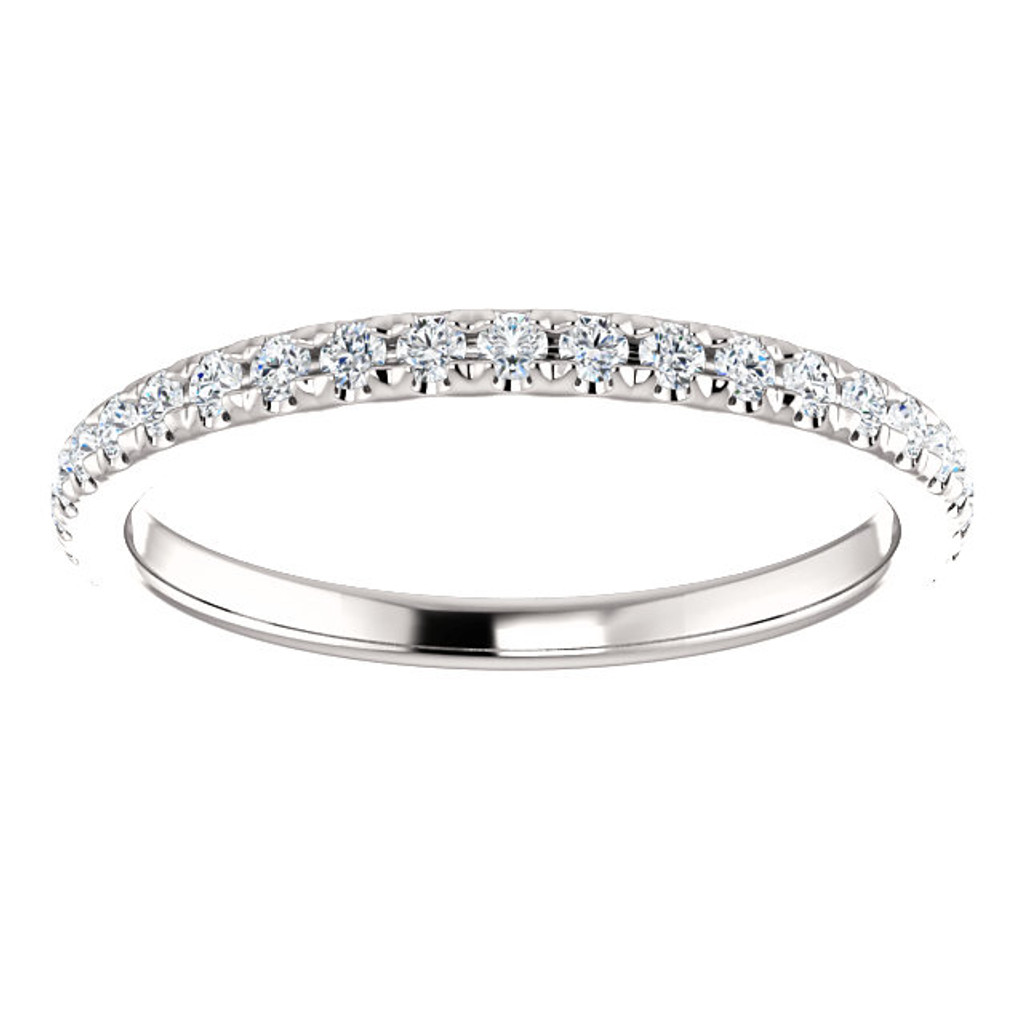 Beautiful Cubic Zirconia Stackable Wedding Band in Solid 14 Karat White Gold