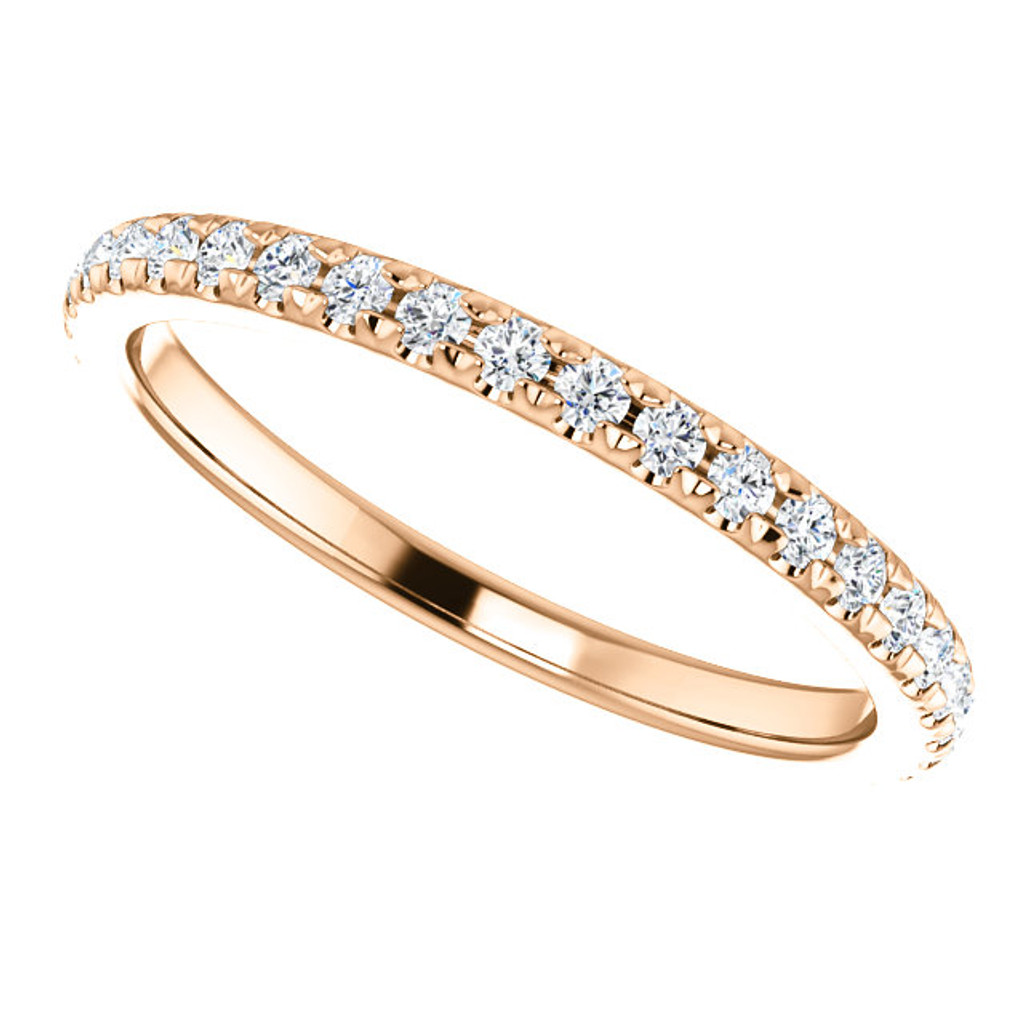 Lovely Solid 14 Kart Pink Gold Stackable Wedding Band