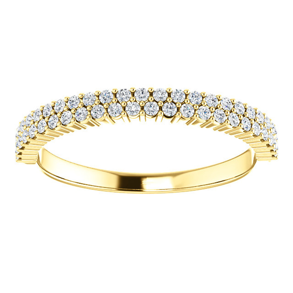 Beautiful Cubic Zirconia Stackable Band in Solid 14 Karat Yellow Gold