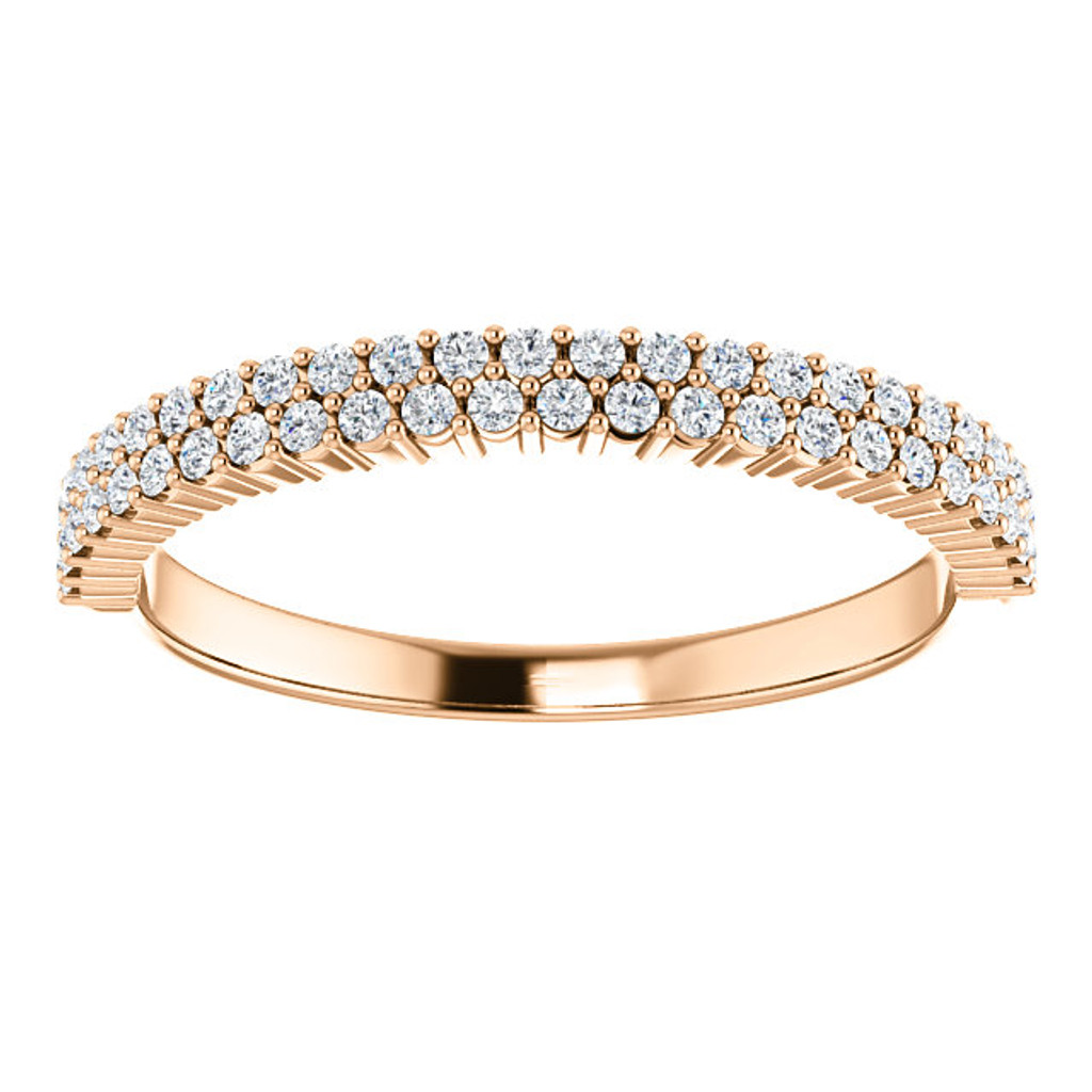 Beautiful Cubic Zirconia Anniversary Band in Solid 14 Karat Rose Gold