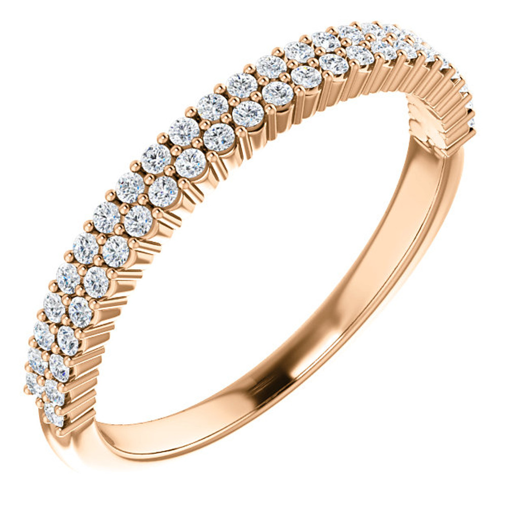 Highest Quality Cubic Zirconia Stackable Wedding Band in 14 Karat Rose Gold