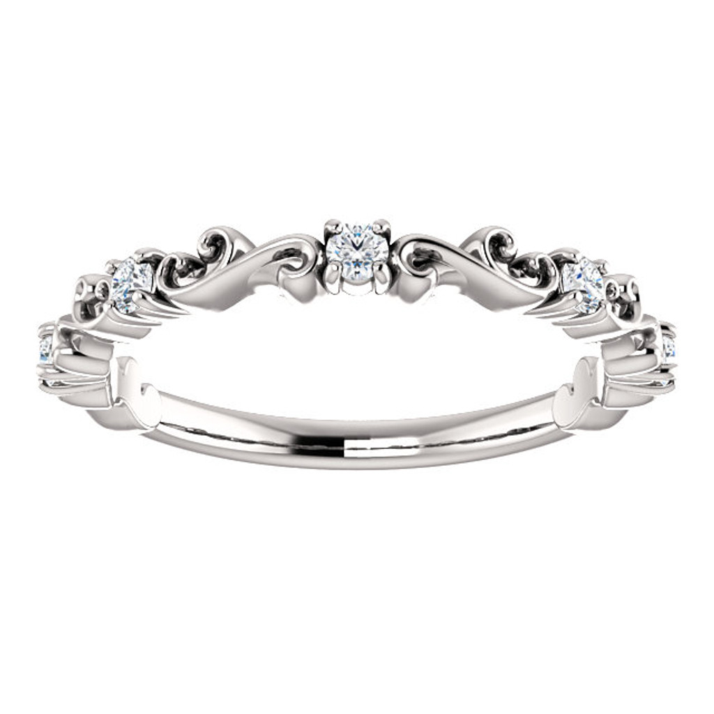 Solid 14 Karat White Gold Stackable Band