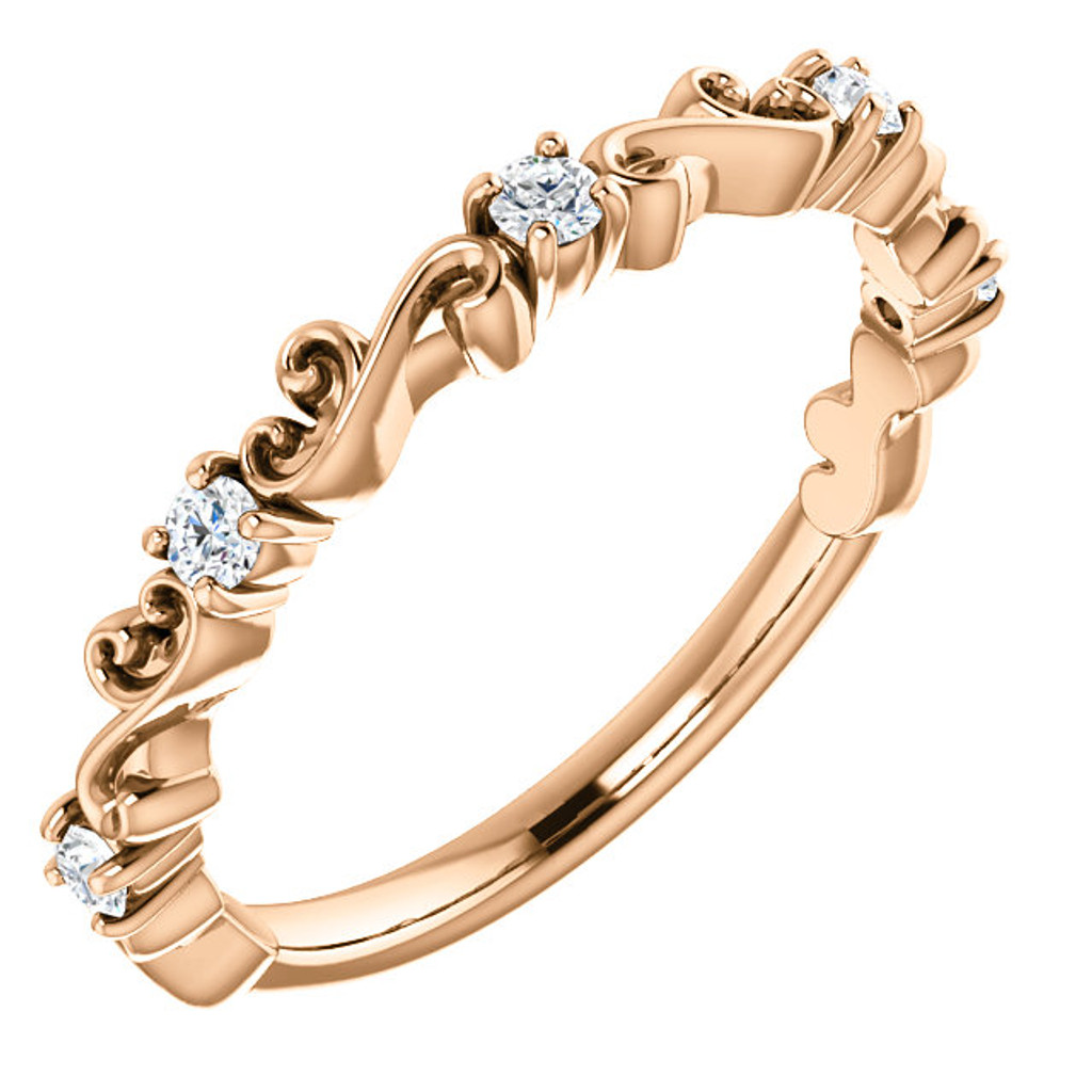 Fine Cubic Zirconia Stackable Rose Gold Bridal Band