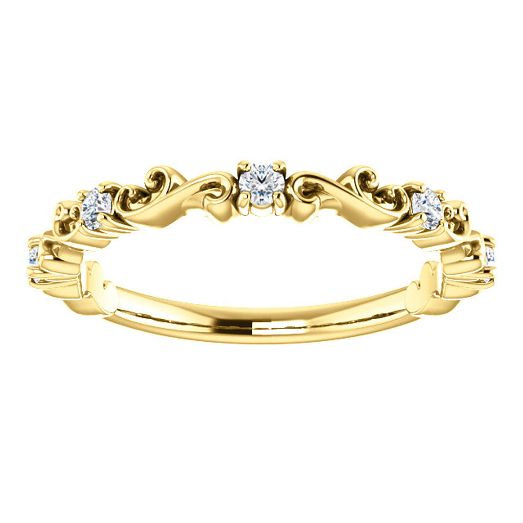 Delicate Stackable Cubic Zirconia Band in Solid 14 Karat Yellow Gold