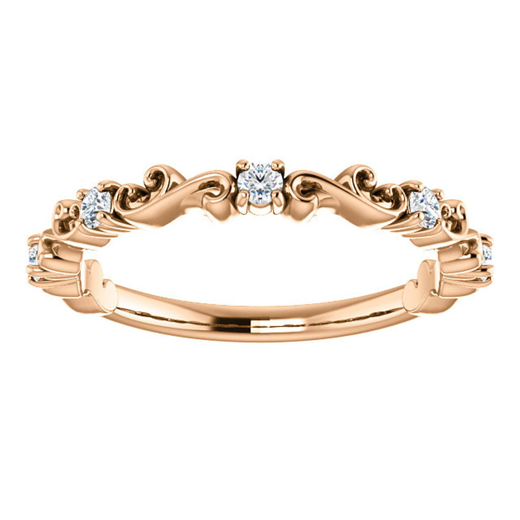 Lovely Stackable Cubic Zirconia Band in Solid 14 Karat Rose Gold