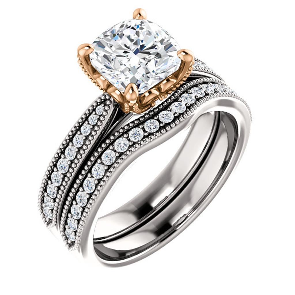 2 Carat Cushion Cut Man Made Diamond Engagement Set in Solid 14 Karat White & Rose Gold