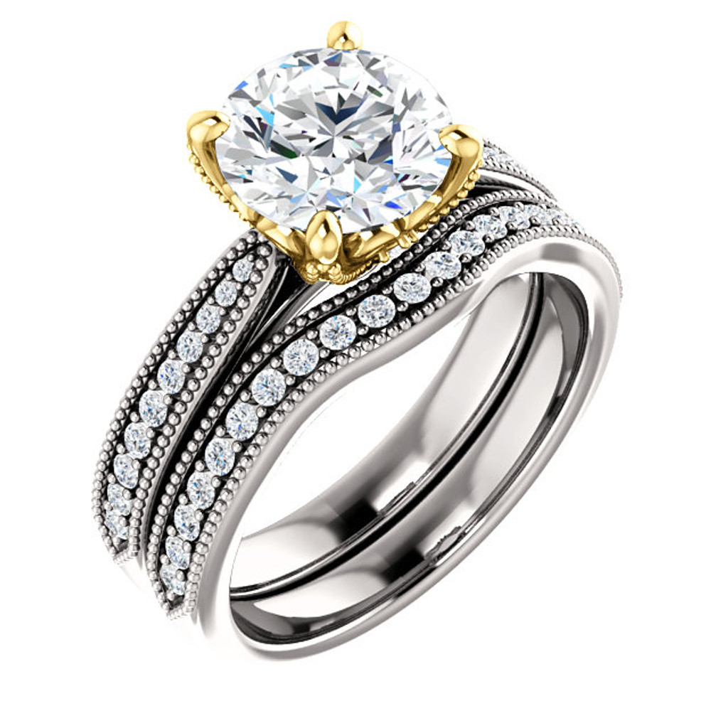 2 Carat Round Flawless Cubic Zirconia Engagement Set in Solid 14 Karat White & Yellow Gold