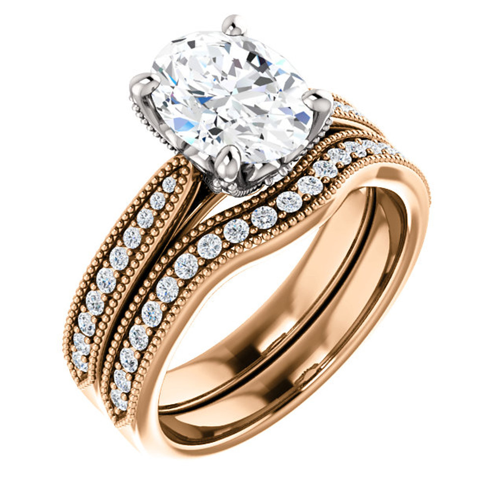 Flawless 2 Carat Oval Cubic Zirconia Bridal Set in Solid 14 Karat Rose Gold