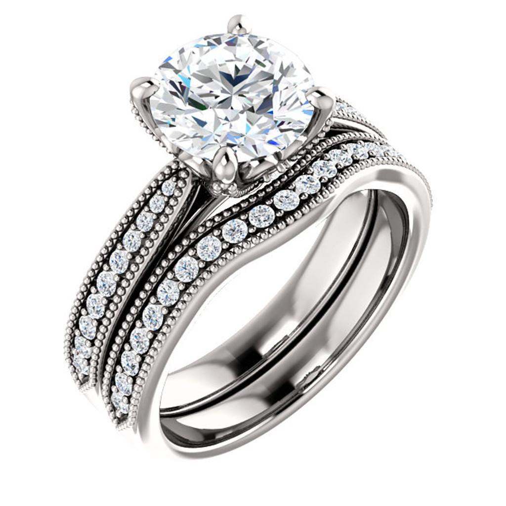 Flawless 2 Carat Cubic Zirconia Bridal Set in Solid 14 Karat White Gold