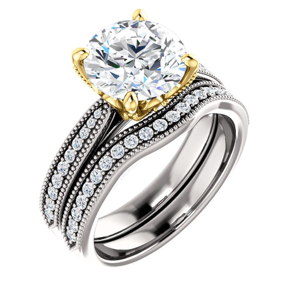 Stunning 2.5 Carat Cubic Zirconia Bridal Set in Solid 14 Karat White & Yellow Gold