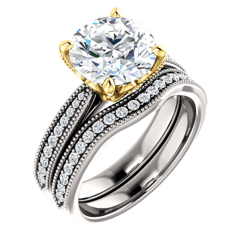 Extraordinary 3 Carat Round Cubic Zirconia Engagement Set in Solid 14 Karat White & Yellow Gold