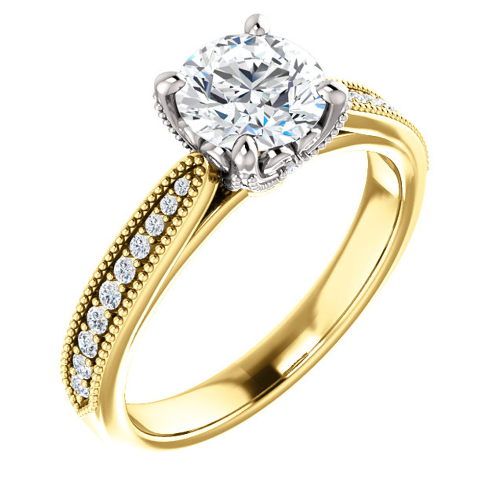 Stunning 1 Carat Round Cubic Zirconia Engagement Ring in Solid 14 Karat Yellow Gold