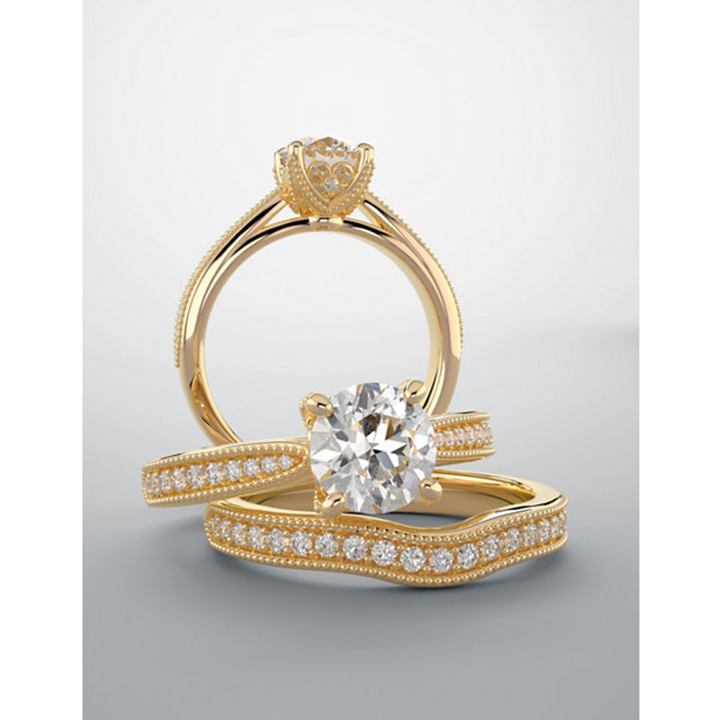 Extraordinary Solid 14 Karat Yellow Gold Cubic Zirconia Wedding Set
