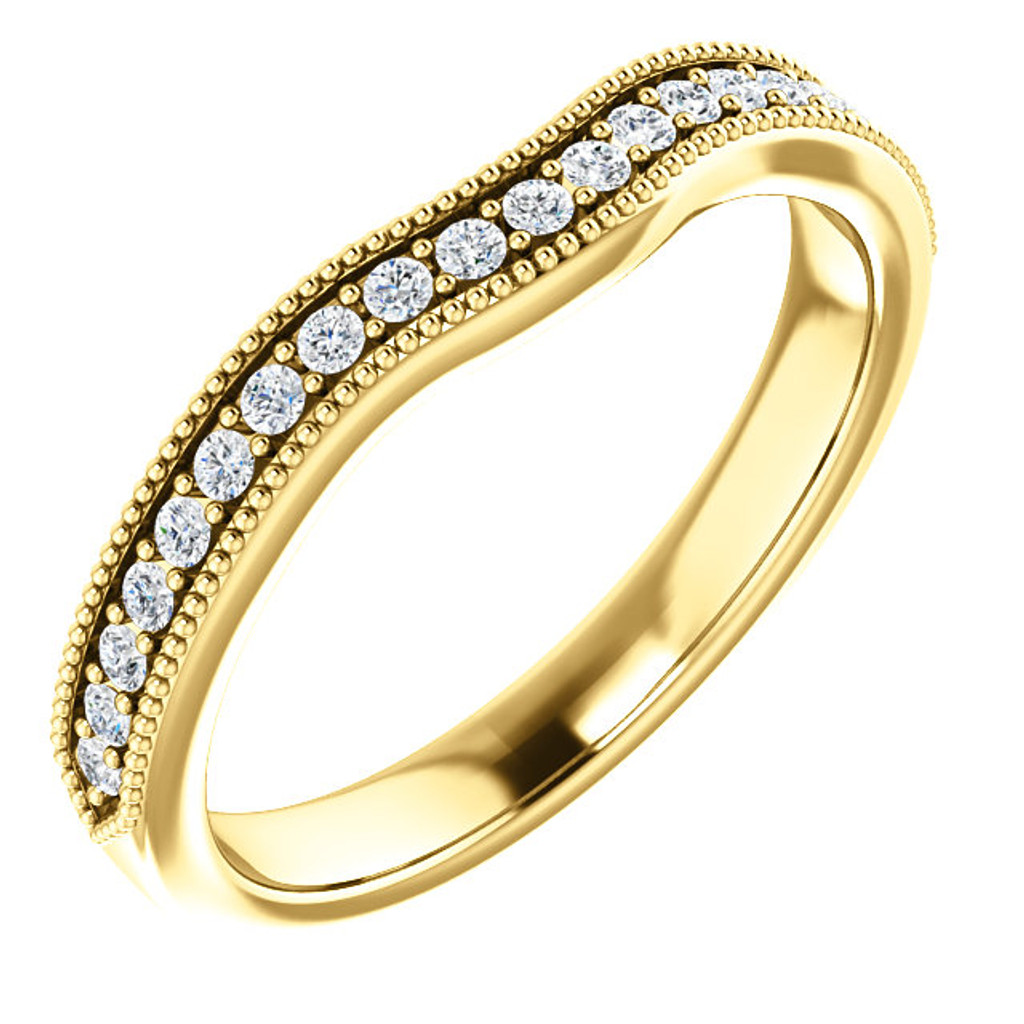 Solid 14 Karat Yellow Gold Cubic Zirconia Matching Wedding Band
