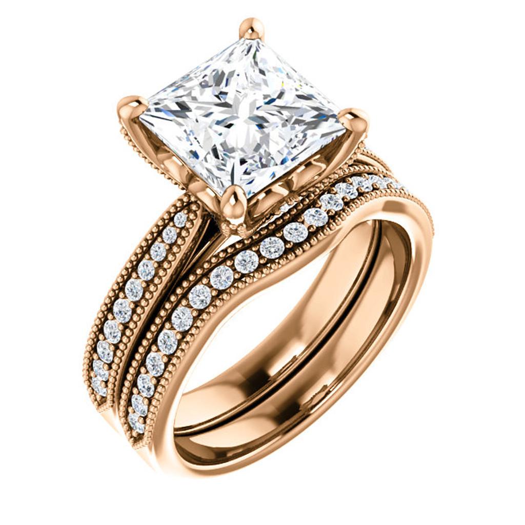 Best Quality 3 Carat Princess Cut Cubic Zirconia Bridal Set in Solid 14 Karat Pink Gold