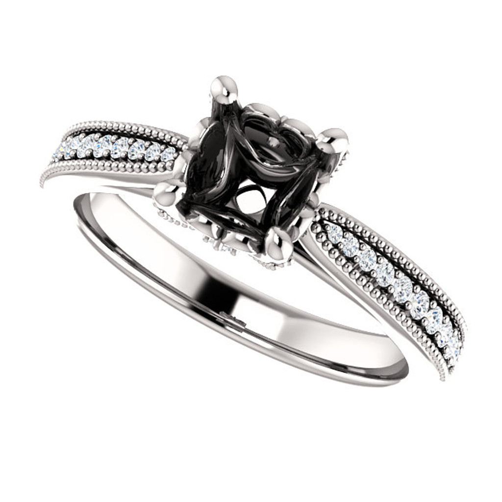 Solid 14 Karat White Gold Setting With Your Choice of Center Stone