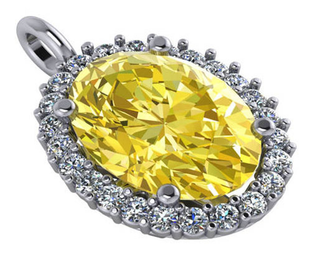 14Kt White Gold Canary Oval Halo Pendant