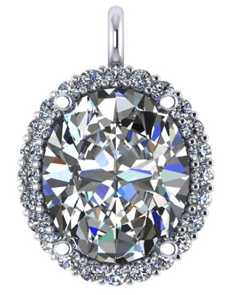 Hand Cut & Polished 8Ct Oval Cubic Zirconia Halo Pendant