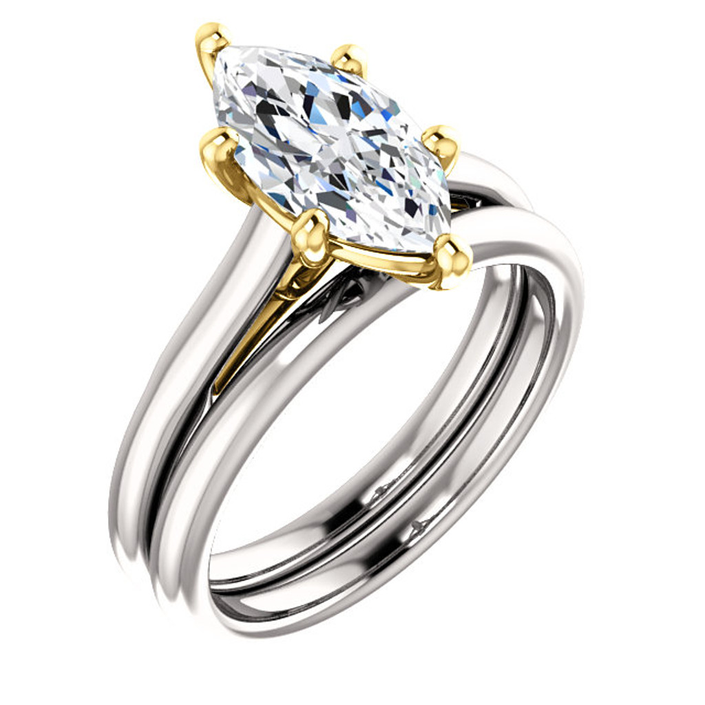 Hand Cut & Polished 1.50 Carat Marquise Cubic Zirconia Solitaire in White Gold & Yellow Gold Accents