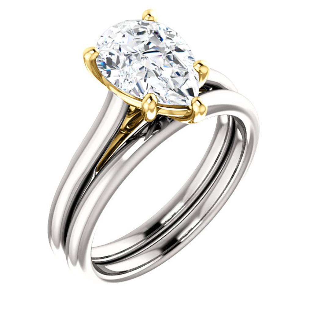 Highest Quality 2 Carat Pear Cubic Zirconia in Solid 14 Karat White Gold & Yellow Gold Accents