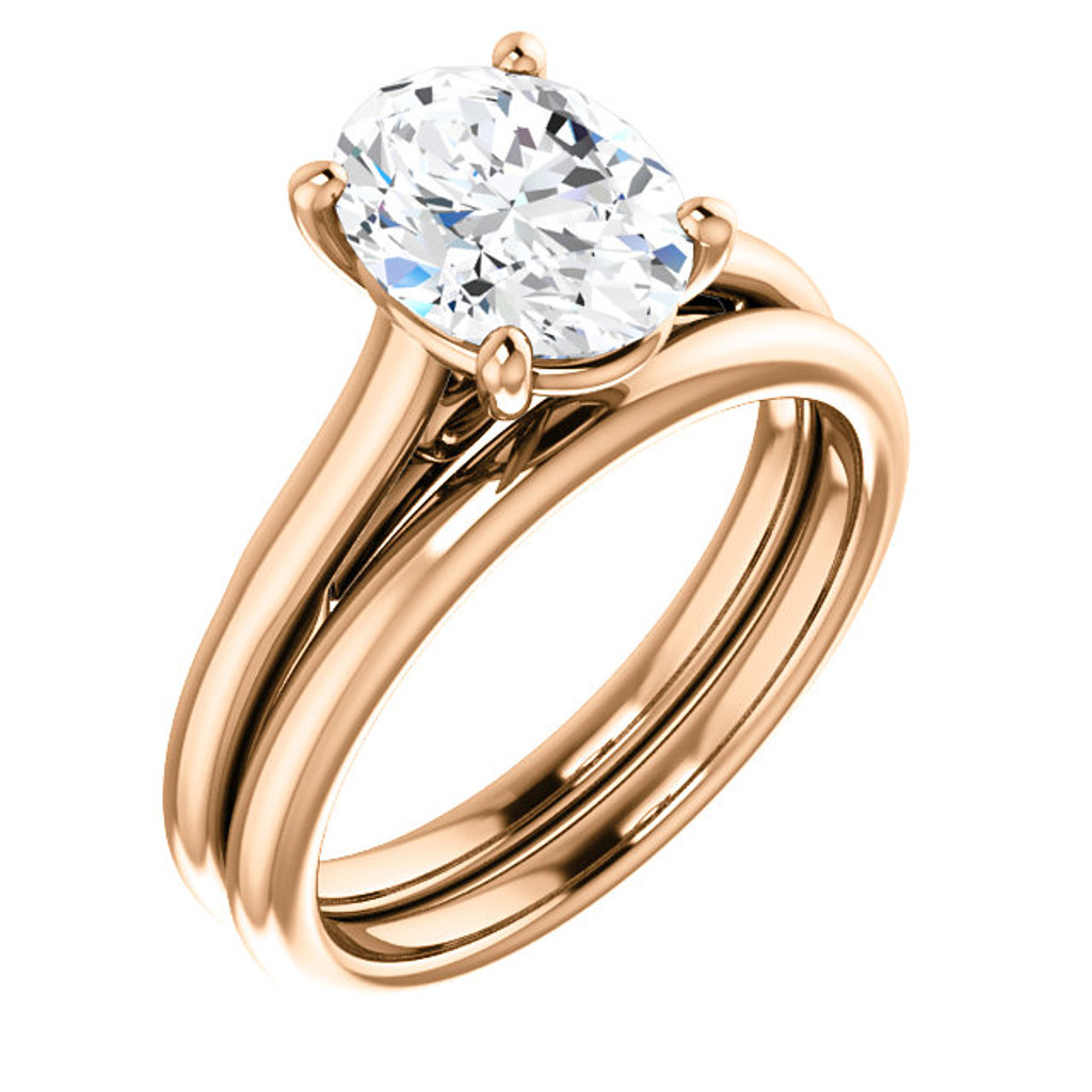 High Quality 2 Carat Oval Cubic Zirconia Solitaire in Pink Gold