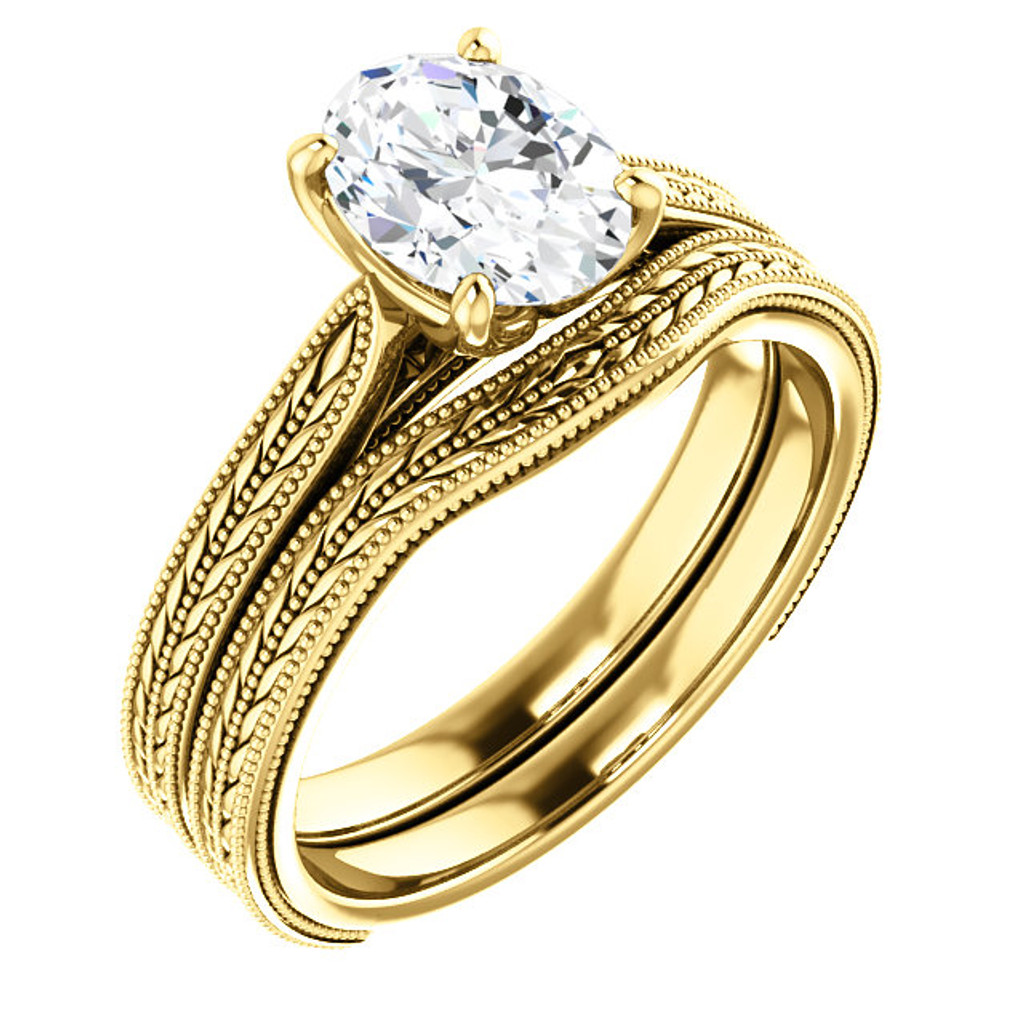 Flawless 1 Carat Oval Cubic Zirconia in Solid 14 Karat Yellow Gold