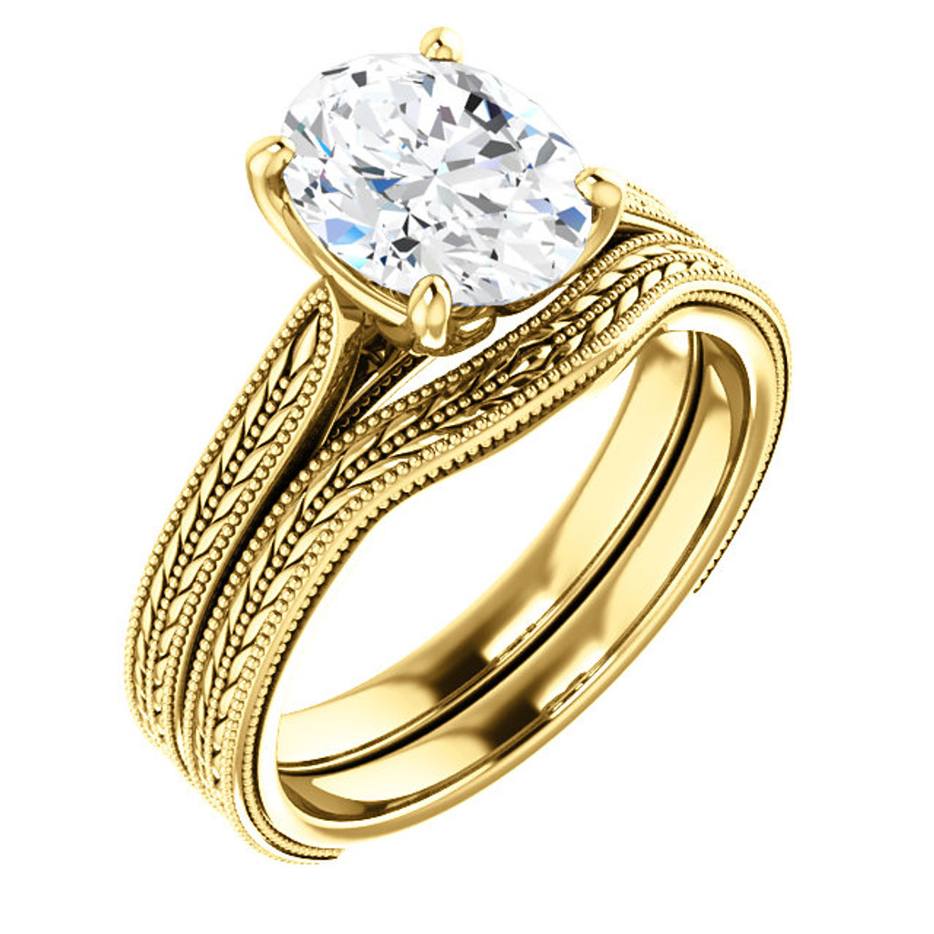 Worlds Finest 2 Carat Oval Cubic Zirconia in Solid 14 Karat Yellow Gold