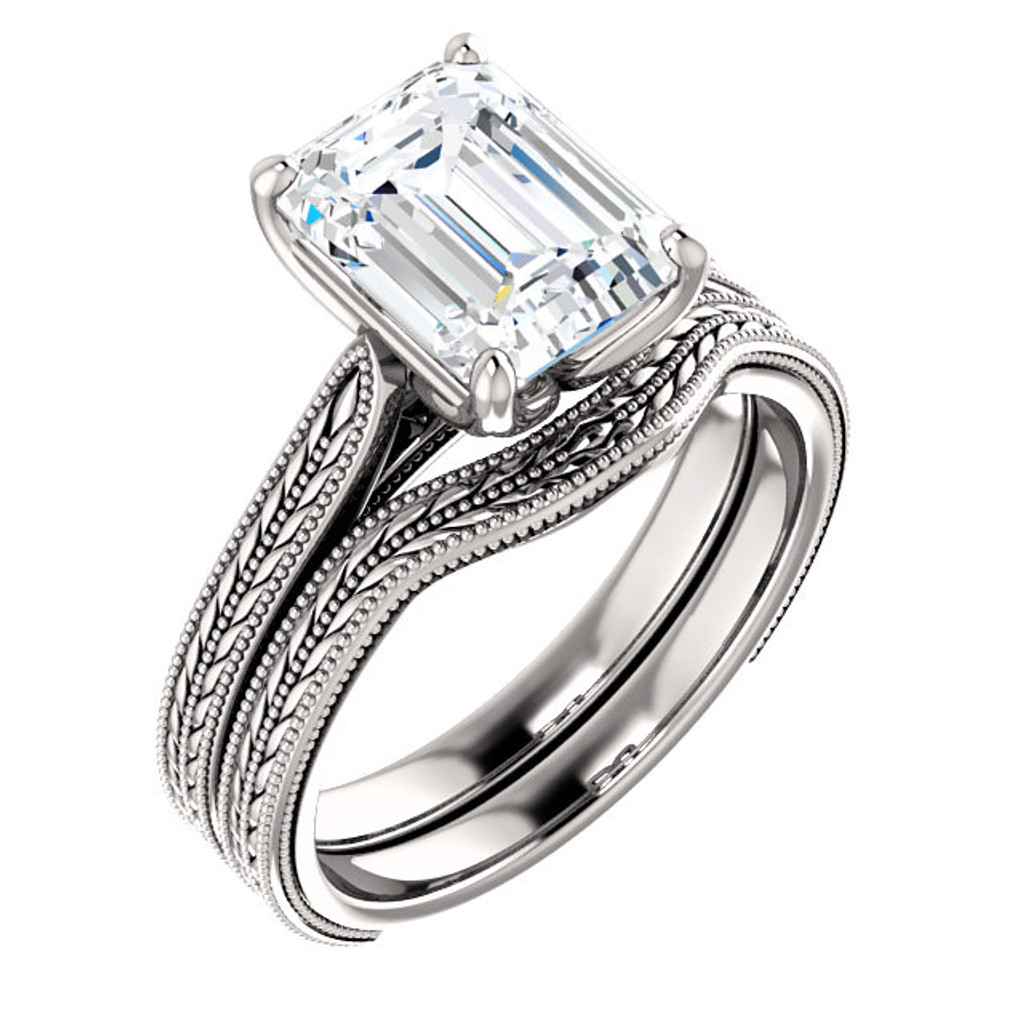 Flawless 2 Carat Emerald Cut Cubic Zirconia Solitaire in Solid 14 Karat White Gold