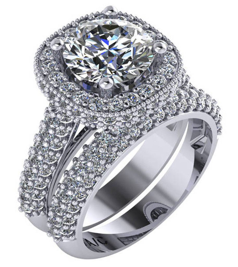 Stunning 2.00Ct Hand Cut & Polished Cubic Zirconia in Heavy Solid 14 Karat White Gold Setting