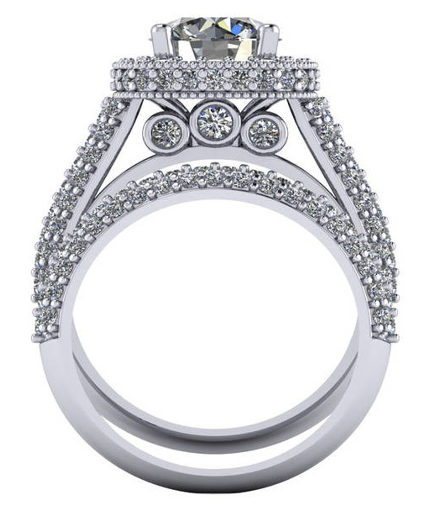 Hidden Three Stone Pave Engagement Setting