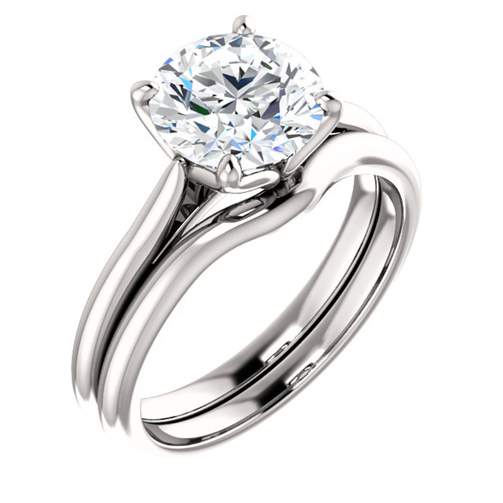 Hand Cut & Polished 2 Carat Round Cubic Zirconia in Solid 14 Karat White Gold