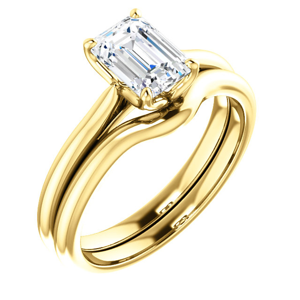 Flawless 1 Carat Emerald Cut Cubic Zirconia Solitaire in Solid 14 Karat Yellow Gold