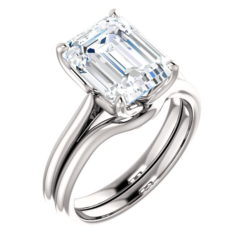 Highest Quality 3 Carat Emerald Cut Cubic Zirconia Solitaire Wedding Set in Solid 14 Karat White Gold