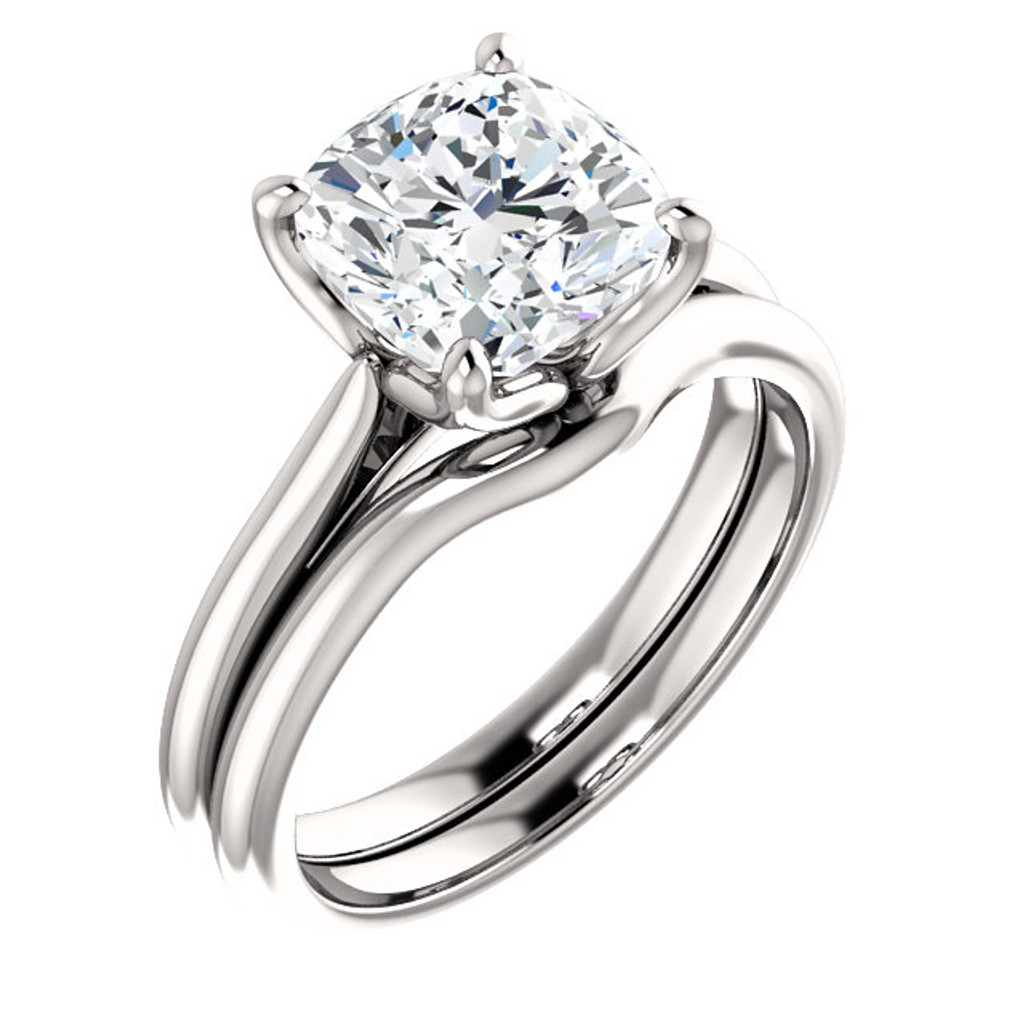 Brilliant 3 Carat Cushion Cut Cubic Zirconia Solitaire Wedding Set in Solid 14 Karat White Gold