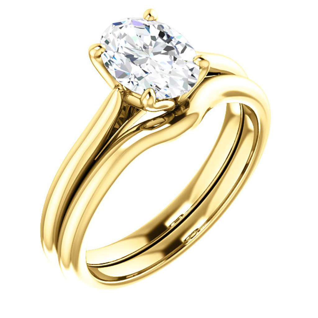 Hand Cut & Polished 1 Carat Oval Cubic Zirconia Solitaire in Solid 14 Karat Yellow Gold