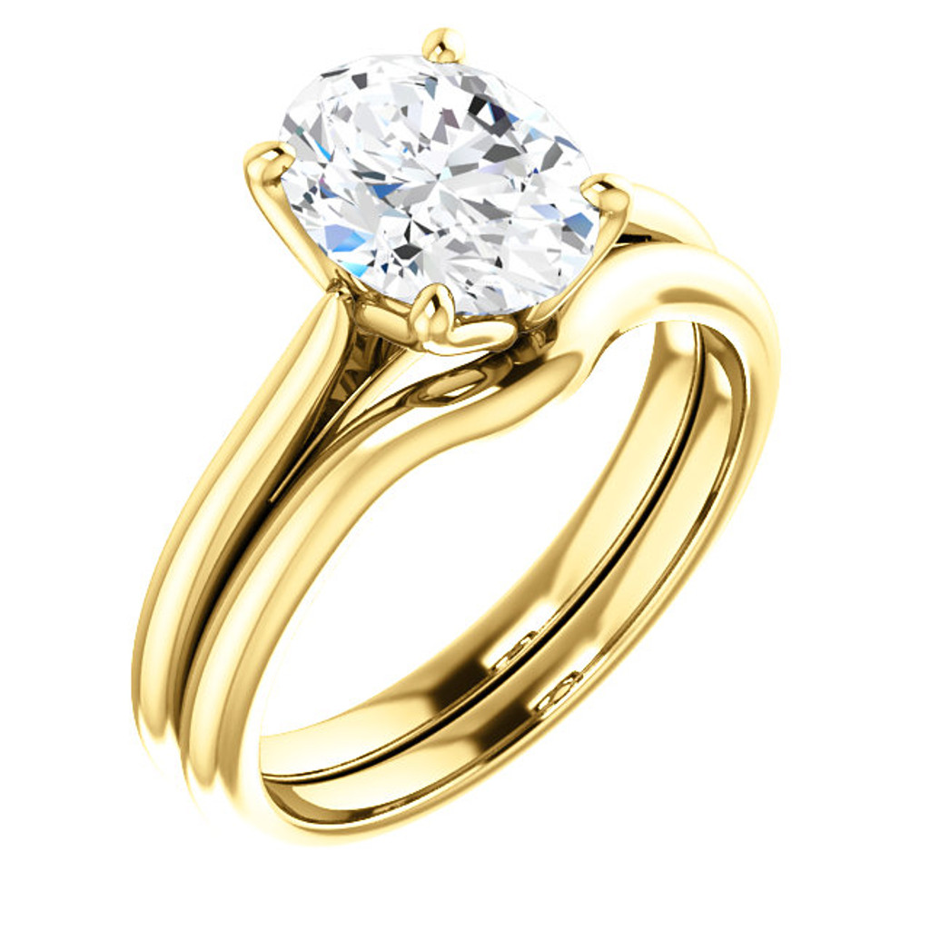 Stunning 2 Carat Oval Cubic Zirconia Solitaire in Solid 14 Karat Yellow Gold
