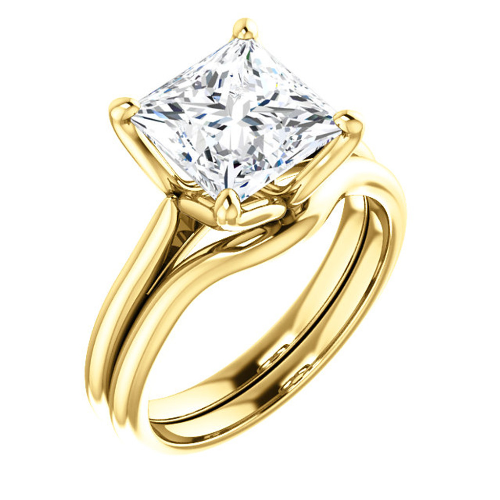 Hand Cut & Polished 3 Carat Princess Cut Cubic Zirconia Solitaire in Solid 14 Karat Yellow Gold
