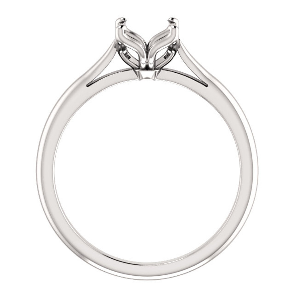 Abigail Solitaire Engagement Ring Side View in Solid 14 Karat White Gold