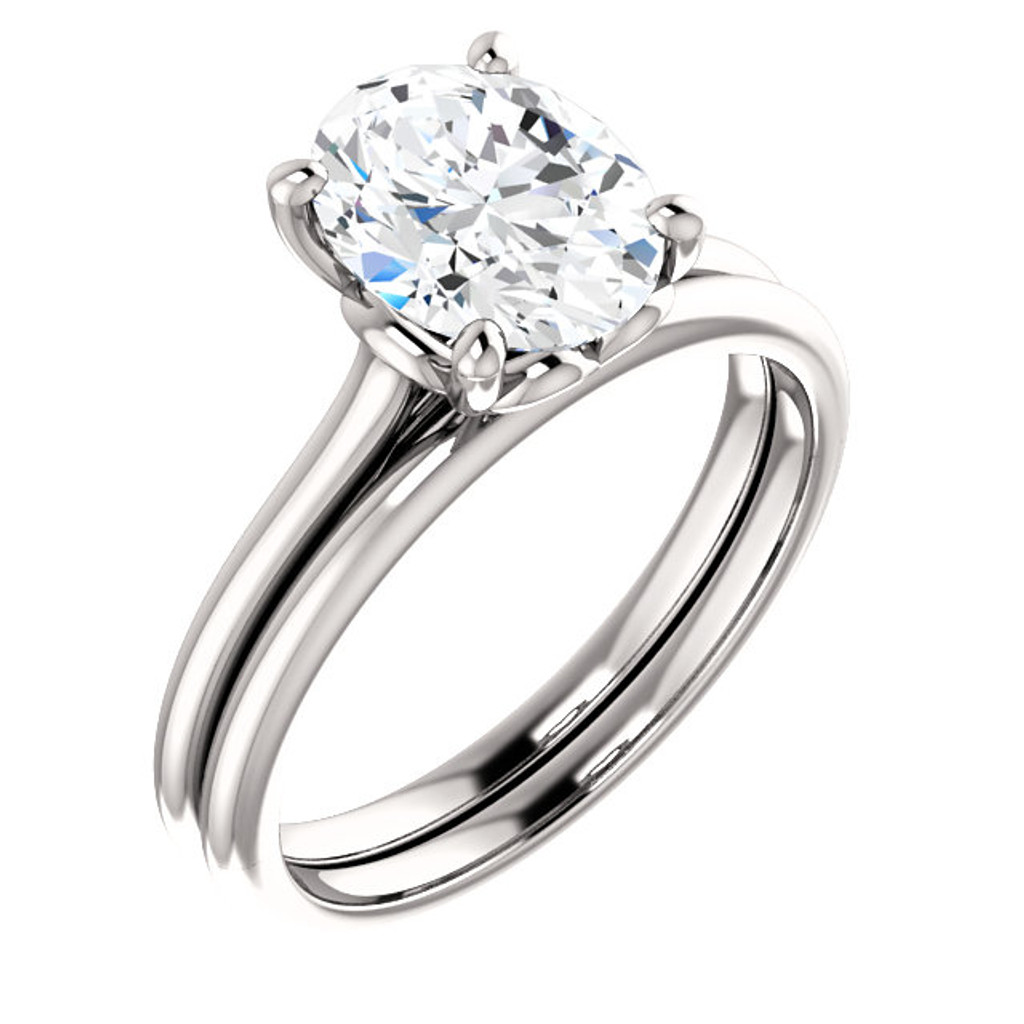 Brilliant 2 Carat Oval Cubic Zirconia Solitaire Engagement Ring & Matching Band