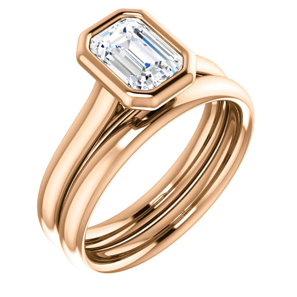 Stunning 1 Carat Emerald Cut Cubic Zirconia Bezel Set Solitaire Engagement Ring & Matching Band