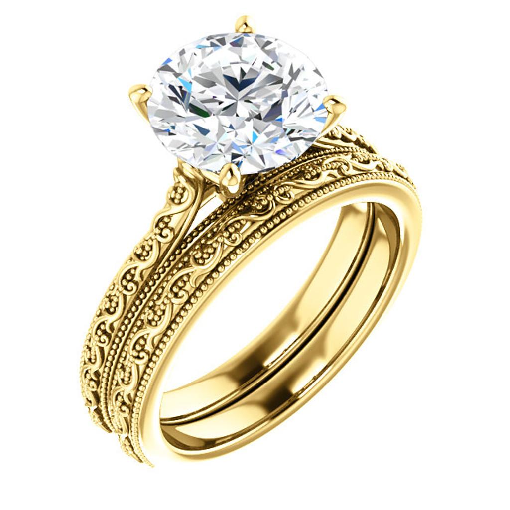 3 Carat Round Cubic Zirconia Solitaire Wedding Set in Solid 14 Karat Yellow Gold