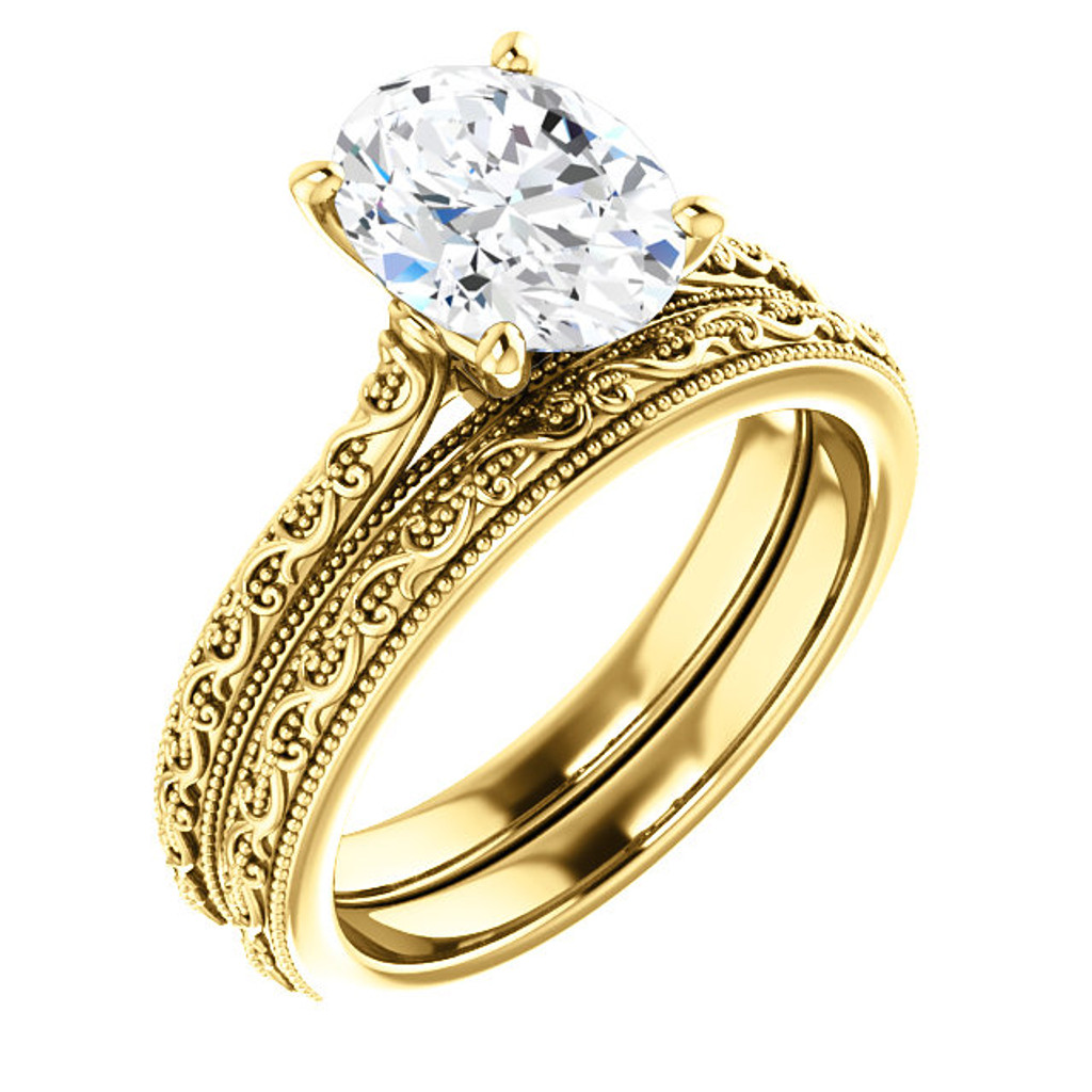2 Carat Oval Cubic Zirconia Solitaire Engagement Ring in Solid 14 Karat Yellow Gold
