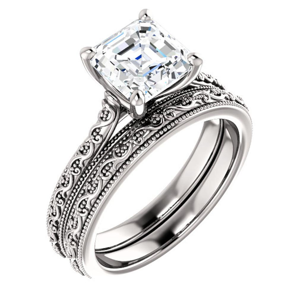 2 Carat Asscher Cut Cubic Zirconia Solitaire Engagement Ring in Solid 14 Karat White Gold