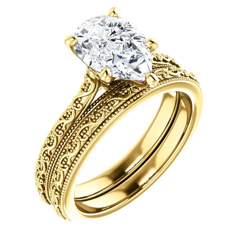 2 Carat Pear Cubic Zirconia Solitaire Engagement Ring in Solid 14 Karat Yellow Gold