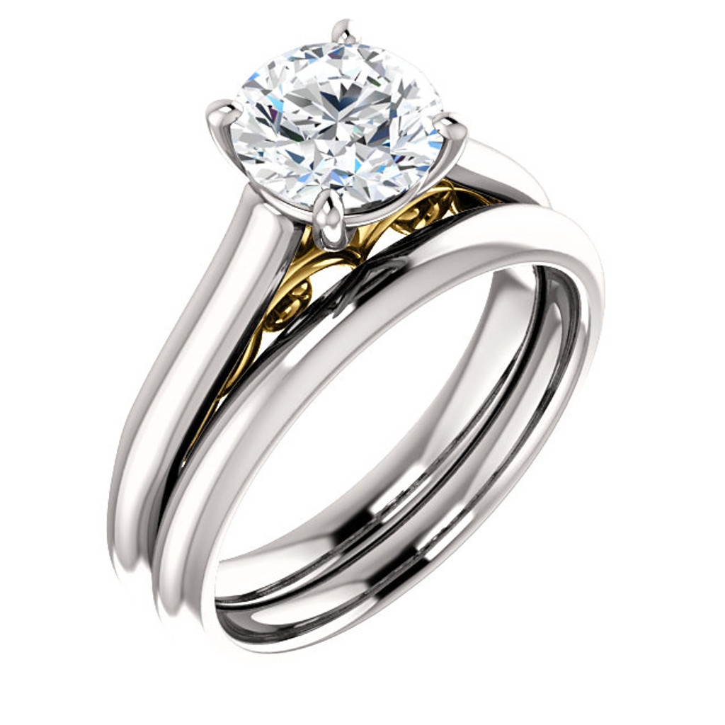 Finest Quality 2 Carat Round Cubic Zirconia Solitaire Engagement Set in Solid 14 Karat White Gold & Yellow Gold Scrollwork