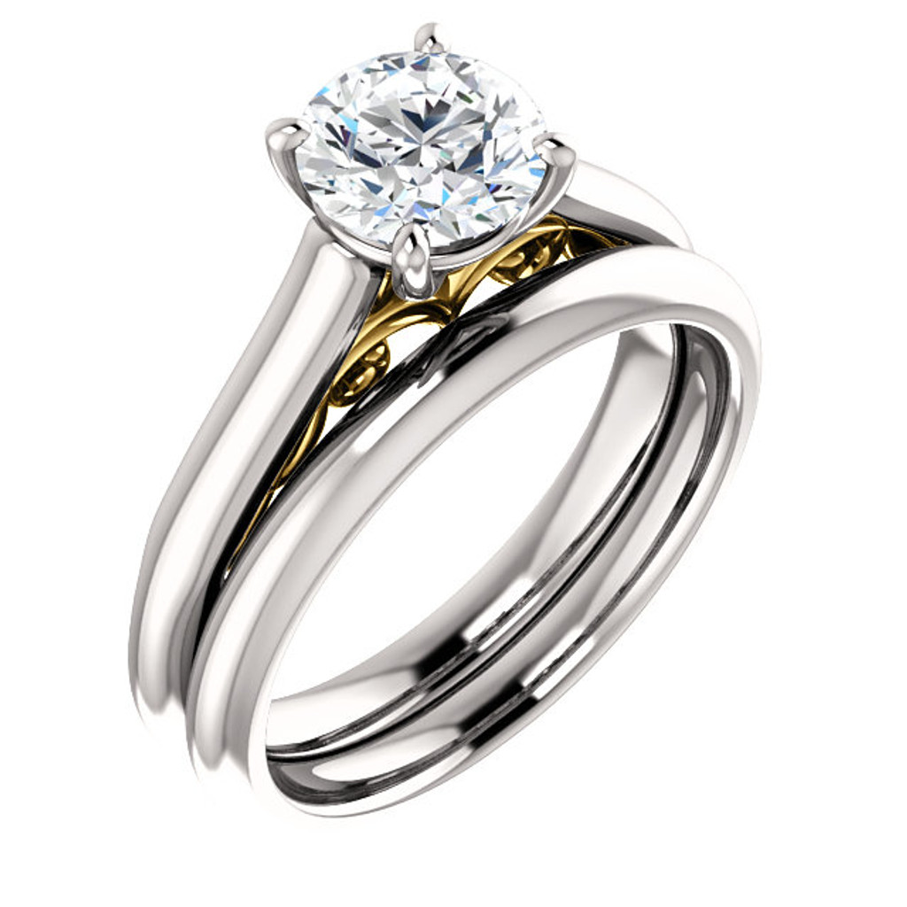 Stunning 1 Carat Round Cubic Zirconia Solitaire Engagement Ring & Matching Band in Solid 14 Karat White Gold & Yellow Gold Accents