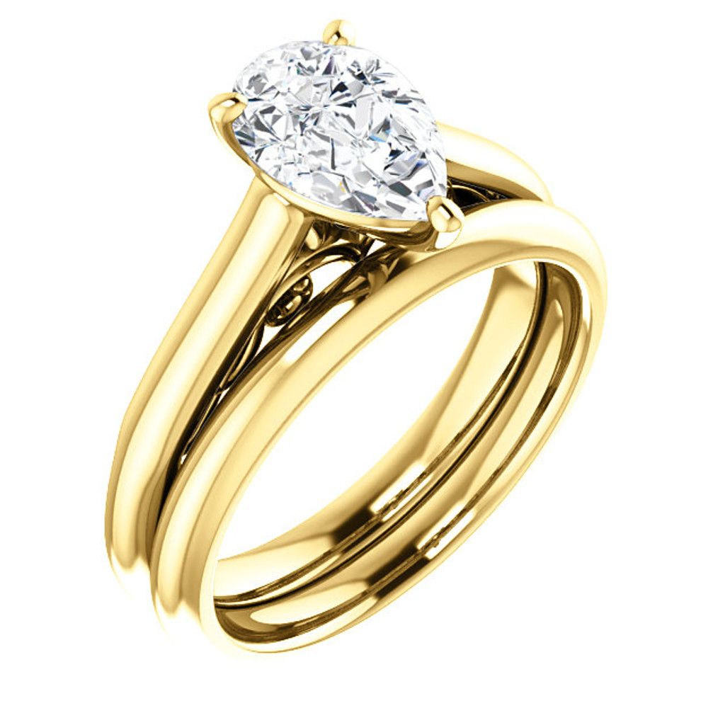 Highest Quality 1 Carat Pear Cubic Zirconia Wedding Set in Solid 14 Karat Yellow Gold
