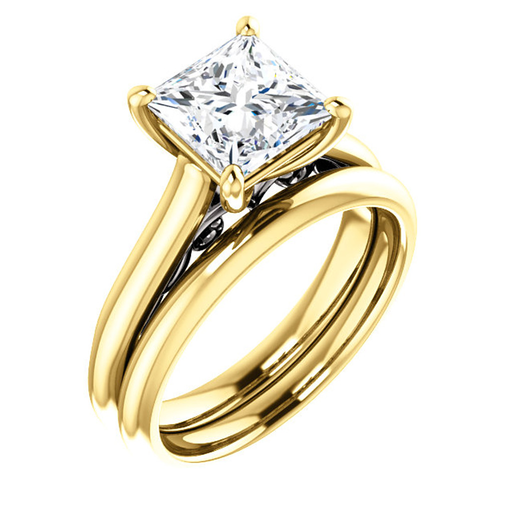 Brilliant 2 Carat Princess Cut Cubic Zirconia Wedding Set in Solid 14 Karat Yellow Gold & White Gold Scrollwork